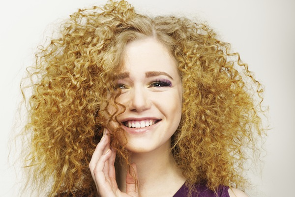 Pleasure. Happy Face of Frizzy Redhead Woman. Joy